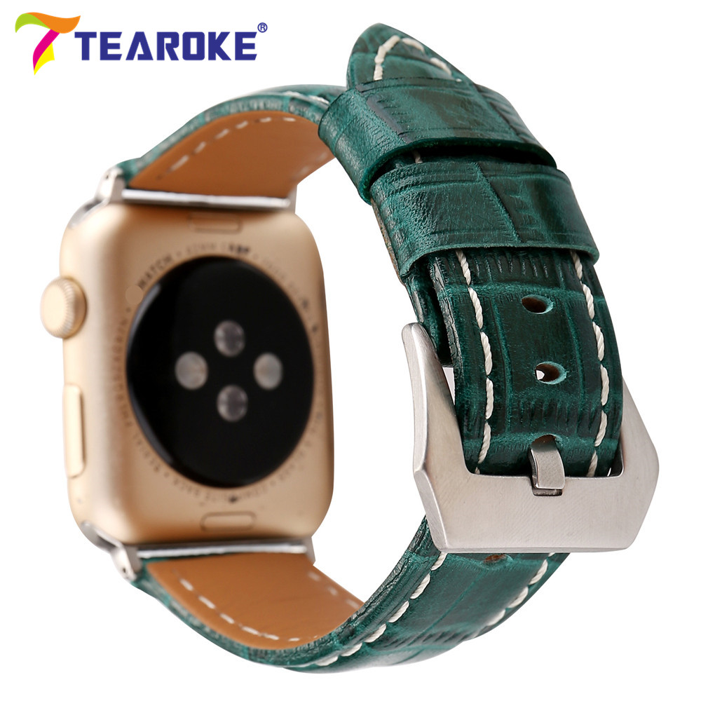 Crocodile Pattern Leather Watchband for Apple Watch 38mm 42mm Green Red Women Men Replacement Strap Band for iwatch 1 2 3 vintage red brown crazy horse genuine leather watchband for apple watch 38mm 42mm women men replacement band strap for iwatch