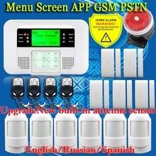 APLICACIÓN inteligente Menú LCD PSTN GSM de Doble Red Inalámbrica 433 MHZ SMS kit domótico Antirrobo Detector de Alarma Del Sensor de Seguridad sistemas