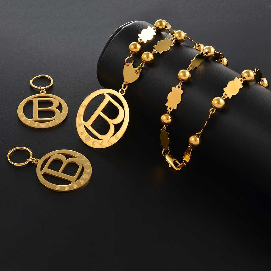 Anniyo большой размер начальный набор Подвески Ожерелья & Весна-золотистое кольцо Микронезия буквы английского алфавита A-Z 26 ювелирные изделия #076921