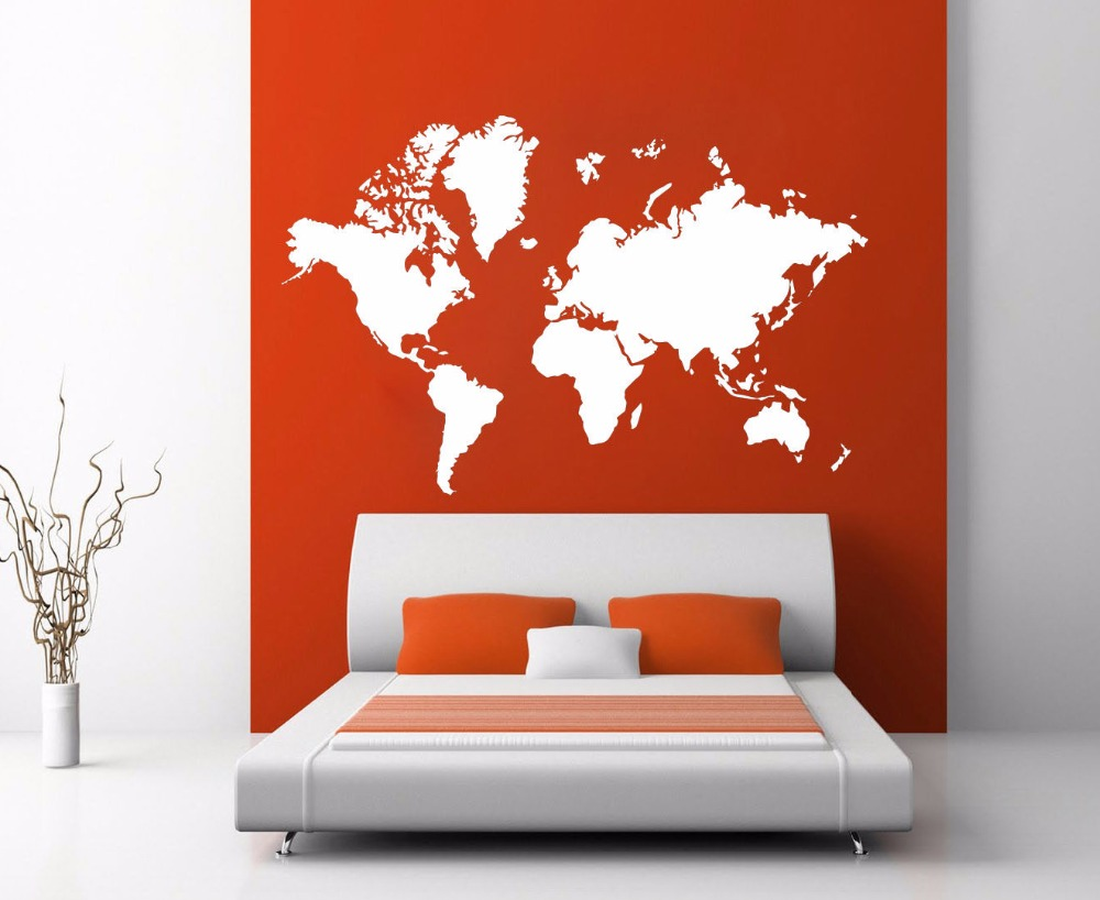 World map atlas silhouette wall art decal sticker removable vinyl world map atlas silhouette wall art decal sticker removable vinyl transfer stencil graphics home mural room decor in wall stickers from home garden on gumiabroncs Images
