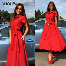 DUOUPA 2019 Sexy Autumn Winter Women Dress Fashion Elegant Solid A-Line Ladies Dresses Vintage Casual Long Party Vestidos