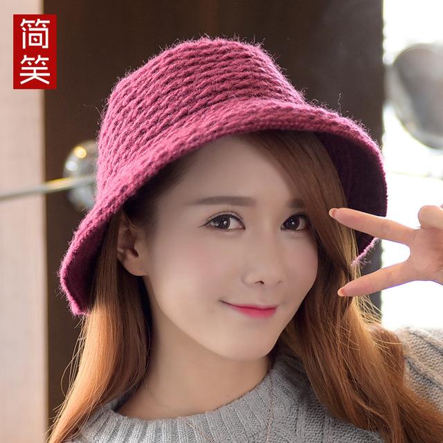Sra. Ma Haimao lana sombrero de invierno, sombrero de punto retro de Corea del arco cúpula caliente del todo-fósforo sombrero de pescador