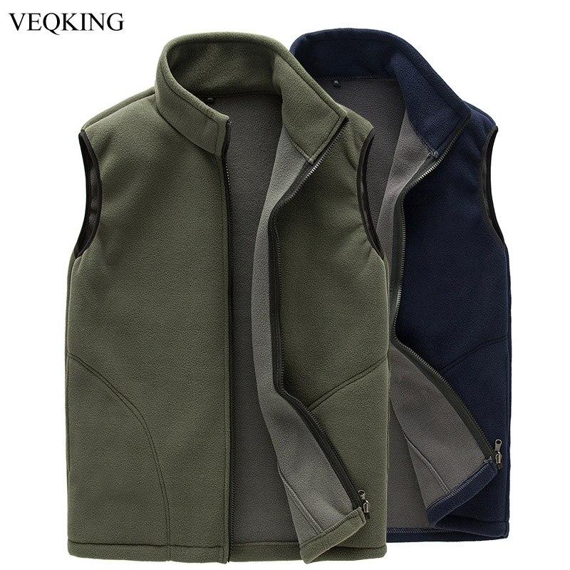 VEQKING Softshell Vest Fleece Sleeveless Jackets Fishing Warm Outdoor Men Spring Climbing