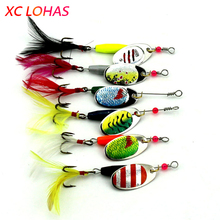 6pcs / Set 7.7g Upgraded Spoon Lure Metal Jig Bait 6 Colors Fishing Lures with Feather Best Seller Sea Rive Lake Fishing Tackle