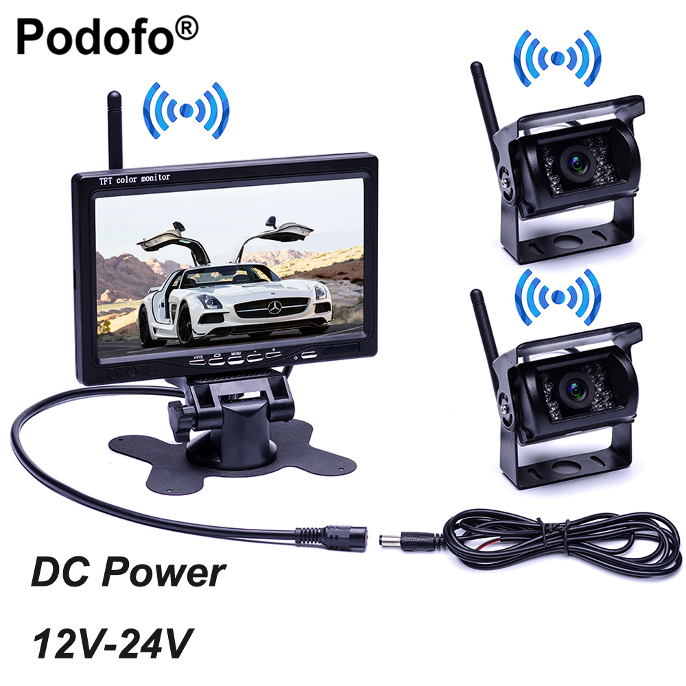 Podofo 7 Wireless Monitor Waterproof Vehicle 2 Backup Camera Kit TFT LCD Monitor Parking Assistance For Bus Houseboat Truck RV hot sale hot sale car seat belts certificate of design patent seat belt for pregnant women care belly belt drive maternity saf