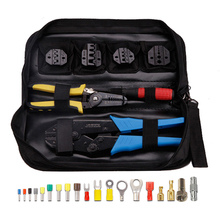 5 in 1 Non-Insulated Pre-insulated Terminals Crimping Pliers Crimper Tool Set Kit 150pcs non insulated tab receptacle terminals crimper crimping plier assortment tool set kit