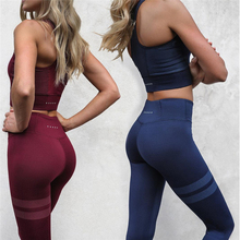 Hot Fitness Sports Suit Solid Color Yoga Suit Casual Wear Summer Slim Sports Suit High Elastic