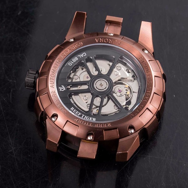 New Design Reef Tiger/RT Rotate Pilot Watches Mens Brown Dial Sport Watches Rubber Strap Automatic Watch RGA3059