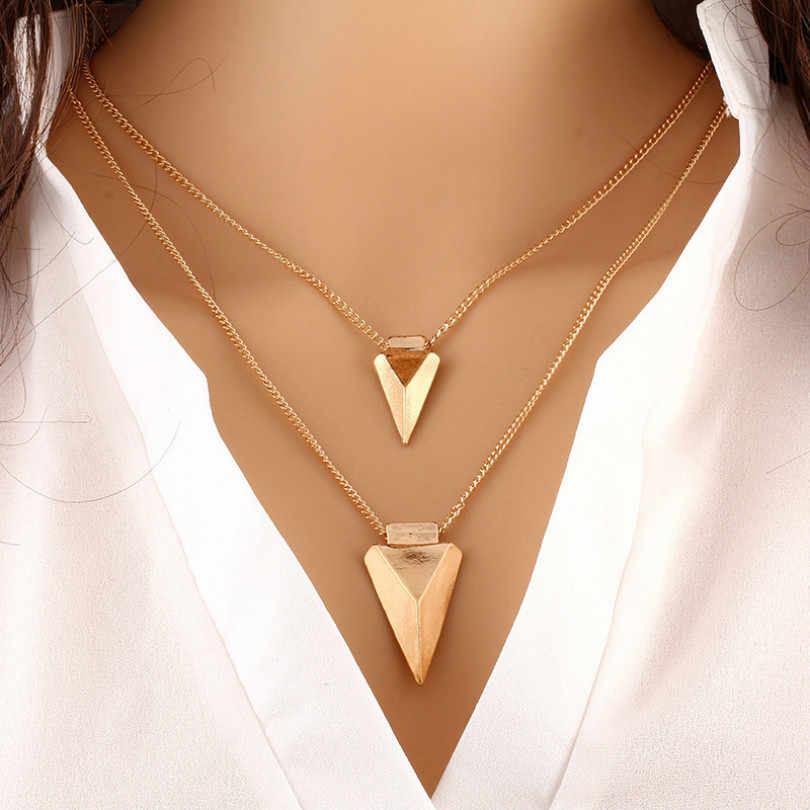 Fashion jewelry temperament wild bohemian necklace simple multi-layer geometric metal clothing necklace female elegant necklace