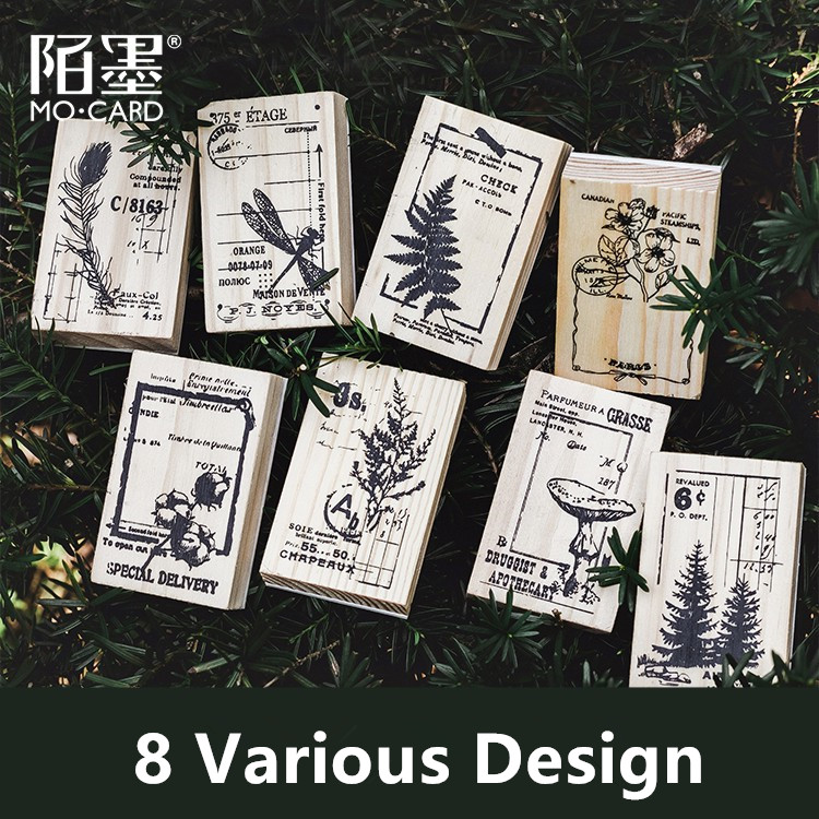 Vintage Forest Series Wooden Rubber Stamp Set For Letters Diary Craft Scrapbooking
