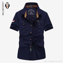 Katun Kasual Kemeja Pria Musim Panas Fashion Longgar Tentara Nyaman  Kualitas Tinggi Lengan Pendek Menyerap Keringat 5b5027420d