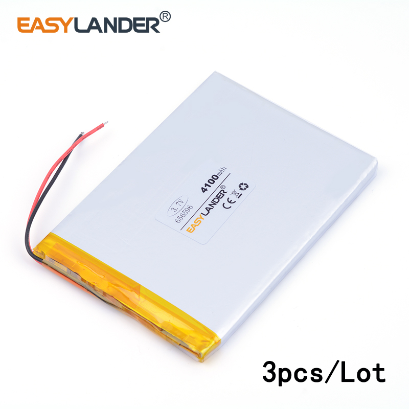 3pcs /Lot 656596 <font><b>4100mAH</b></font> <font><b>3.7v</b></font> lithium Li ion polymer rechargeable <font><b>battery</b></font> Naptop e-book video game IPAQ MID cell phone speaker image