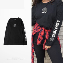 Retro Han Guodong gate of new fund 2017 autumn winters T-shirt loose BF contracted long-sleeved popular logo printed