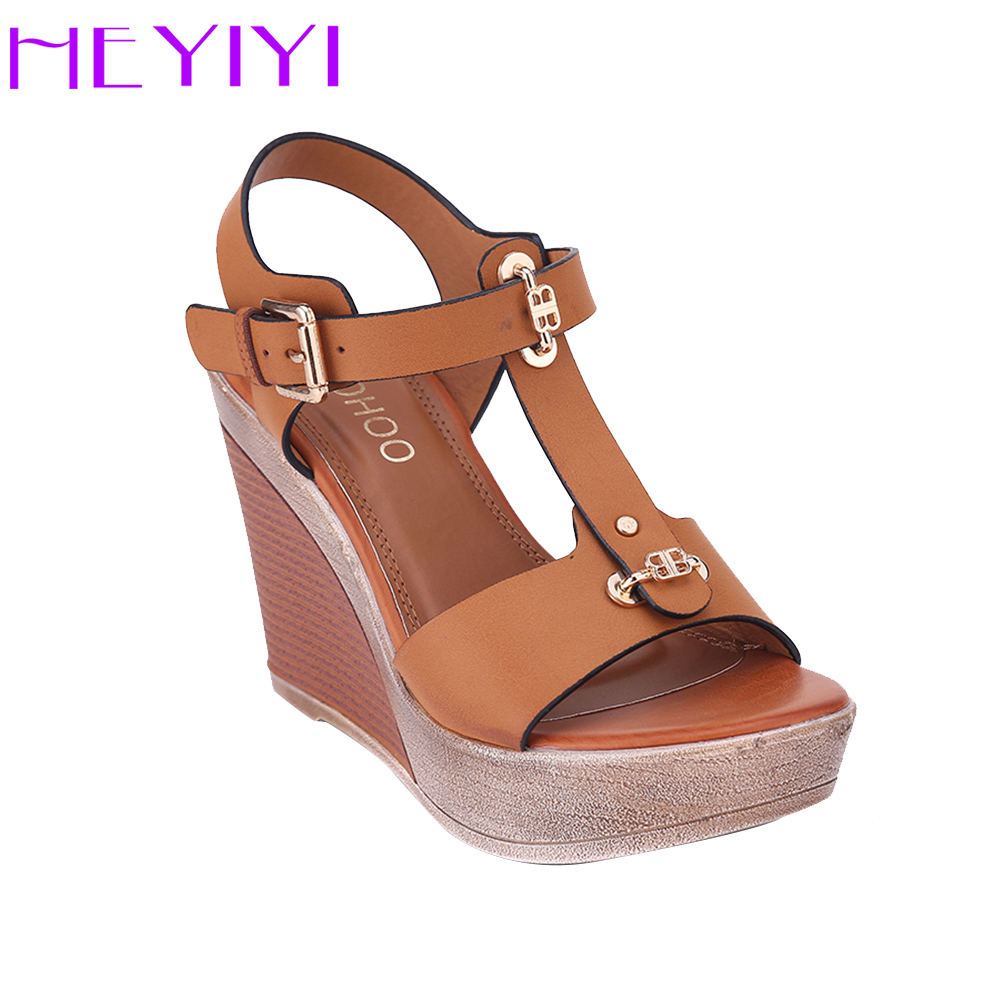 HEYIYI Shoes Women Sandals T-Strap Platform Wedges High Heels Lightweight Buckle Soft EVA Insole Big Size Camel Blue Color