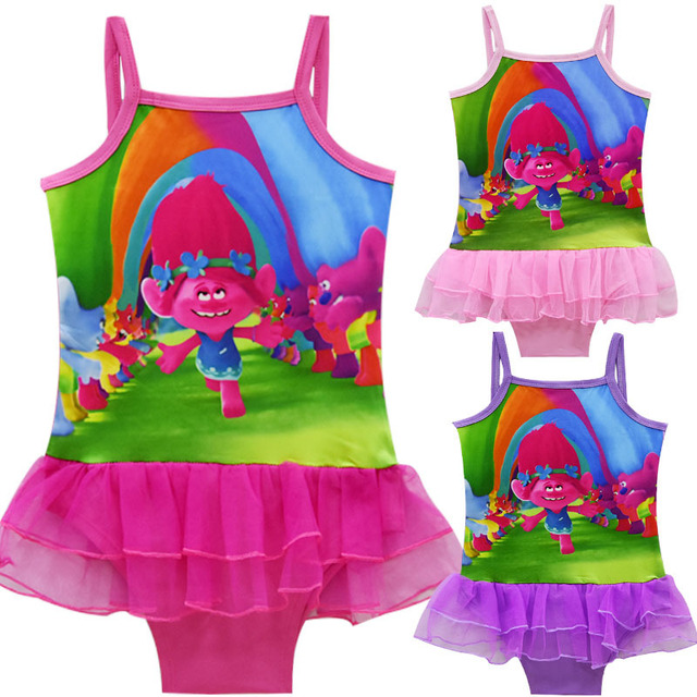 2b898b15ca8d2 Drop Shipping Baby Girls Swimsuit Trolls Children Bathing Suit Kids Girls  Bikini Swim Suit Bathers Pretty Fashion