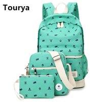 Tourya Escolar Mochilas Cute Canvas School Bag Vintage Laptop Travel Backpack For Teenage Girls Women Shoulder