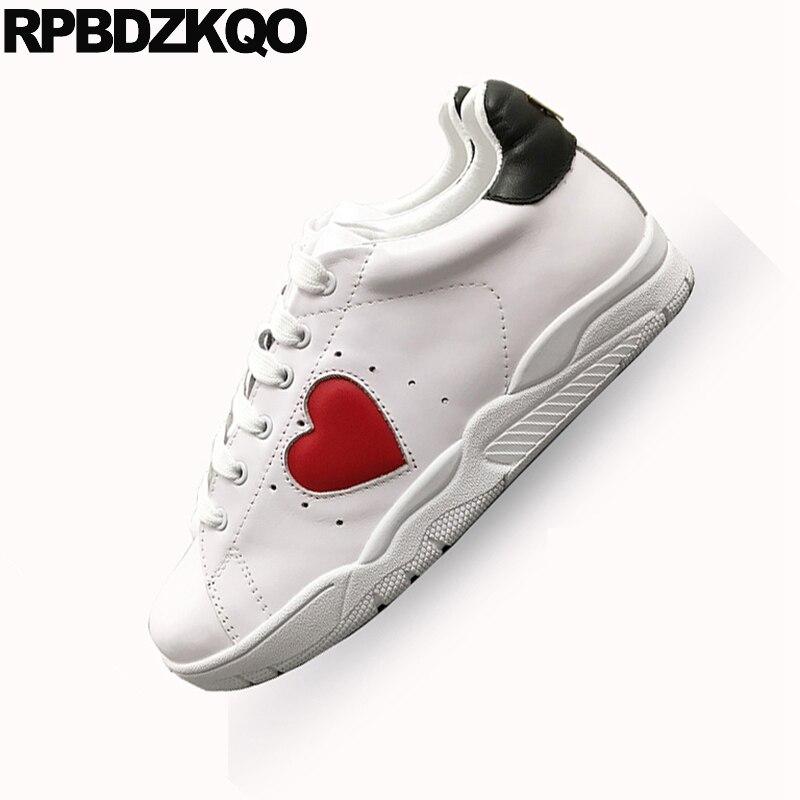 Blanc en cuir véritable coeur paillettes appartements décontracté femmes chaussures de luxe à lacets de haute qualité cils chaussures de sport à paillettes italiennes - 4
