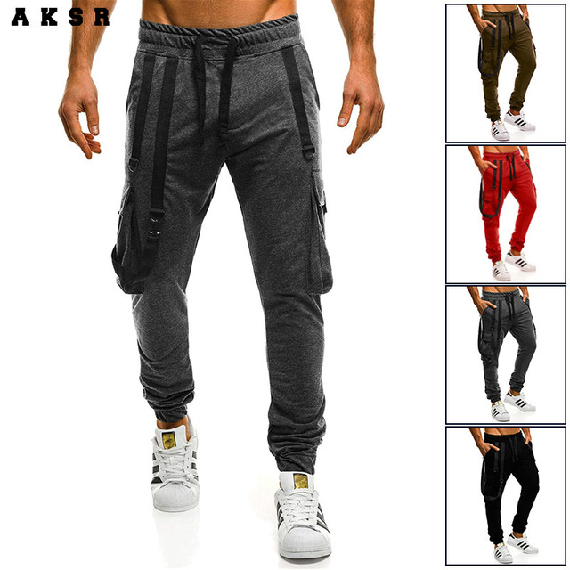 074edf8f US $16.64 55% OFF|AKSR New Mens Fashion Sport Joggers Hip Hop Harem Pants  Jogging Fitness Pant Casual Solid Color Trousers Sweatpants-in Sweatpants  ...
