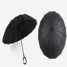 Creative Simple Type Handle 16 Bone Automatic Business Umbrella Women Men Kids Straight Rod High-grade Long Handle Umbrella Hot
