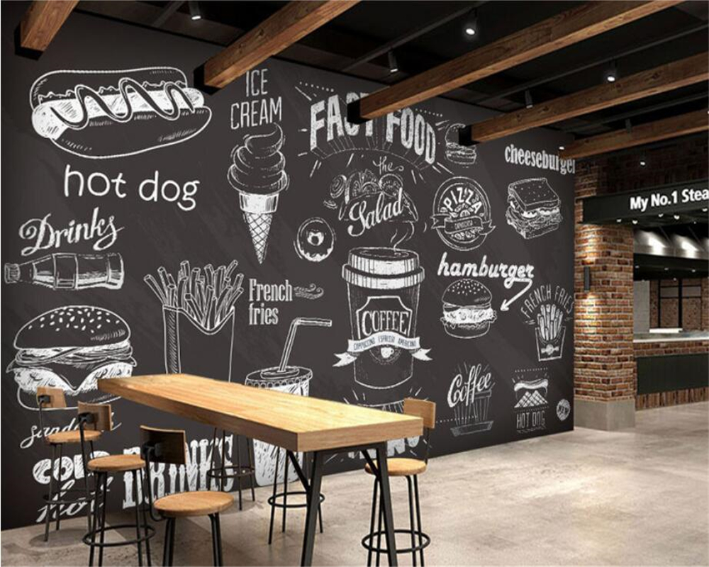 Beibehang Custom Wallpaper Hand Drawn Chalkboard Gourmet Dessert Fast Food Coffee Shop Restaurant Background Wall 3d Wallpapers