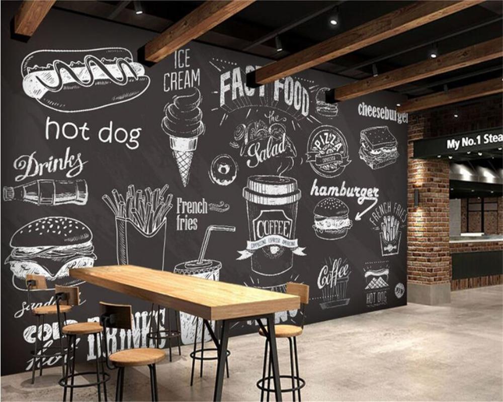 Beibehang Custom Wallpaper Hand Drawn Chalkboard Gourmet Dessert Fast Food Coffee Shop Restaurant Background Wall 3d Wallpapers