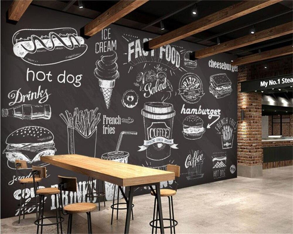 Parete Dipinta A Lavagna us $8.85 41% di sconto|beibehang carta da parati personalizzata disegnata a  mano lavagna gourmet dessert fast food coffee shop ristorante sfondo della