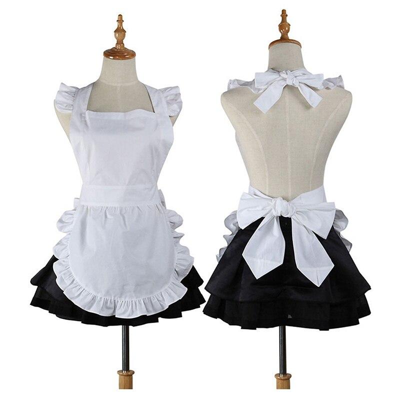 ca6733d04176 Delantal de cocina de algodón de alta calidad, delantal de trabajo de  camarera para mujer, disfraz de sirvienta, regalo, delantal