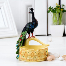MRZOOT Home Wine Cabinet Decoration Storage Large Peacock Ashtray Creative Personality Fashion European Gift For Boyfriend