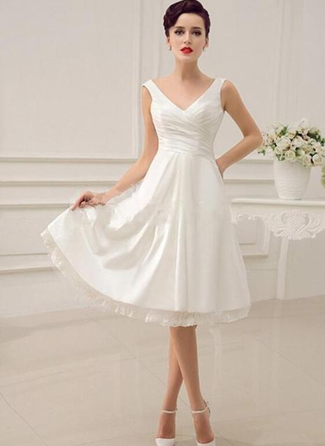 New Arrival Knee Length A-Line Wedding Dress Lace up V Neck Bridal Gowns Custom Made Cheap Wedding Gowns