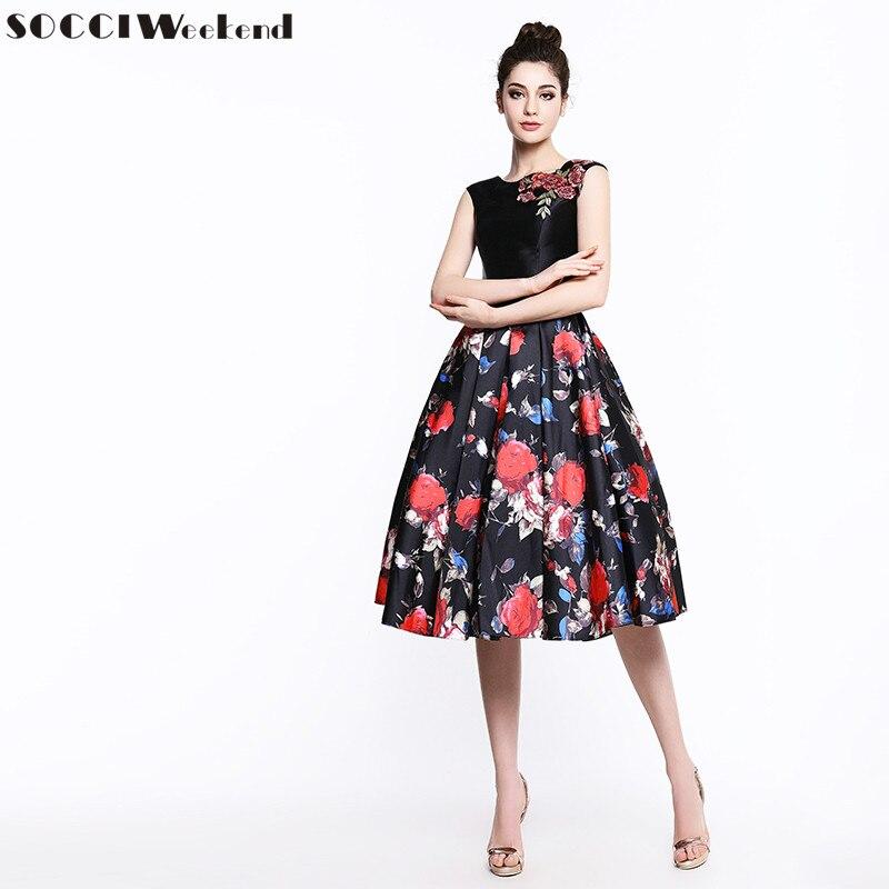 SOCCI Short Black Flowers   Cocktail     Dresses   2019 Sleeveless 50's Formal Wedding Party   Dress   Embroidery Women Elegant Robe De New