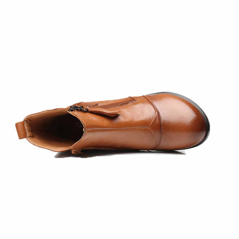 Xiuteng Yeni Kadın Hakiki Deri Çizmeler Retro Inek Derisi Deri bayan Botları Anne Halk Tarzı Kış Ayakkabı Sapato Feminino Ayakkabı