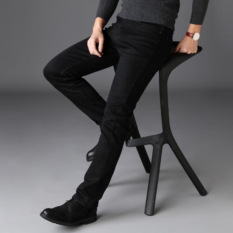 Black Jeans Men Winter Autumn Stretch Denim Jeans Man Elastic Casual Slim Jean Pants Male Quality Jeans Homme