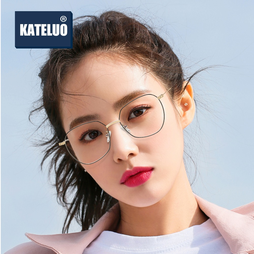 KATELUO Eye Glasses Frames For Women Blue Light Blocking Glasses Round Clear Lens Eyeglasses Spectacle Prescription Frames 8001