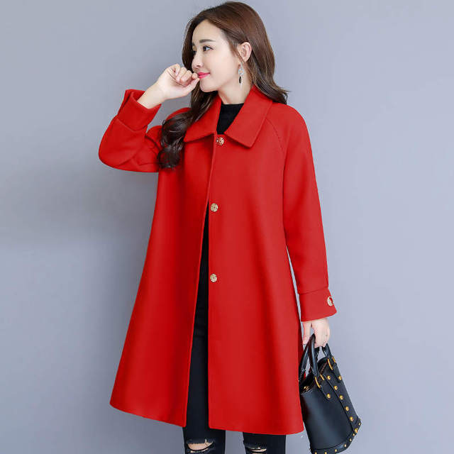 Woolen Coat Women Autumn Winter Cloak Style Long Wool Coat Plus Size Warm Parka Overcoat Blue Red Women Coat Abrigos Mujer C4839 3