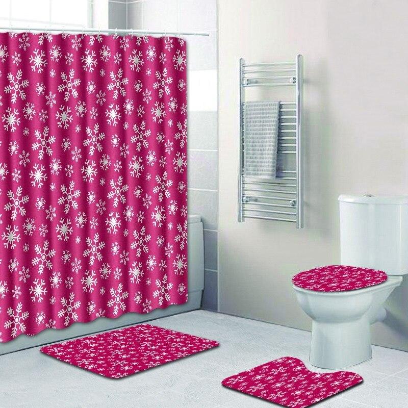 Free Shipping 4pcs Snowflakes Rose Dots Red Banyo Paspas Bathroom ...