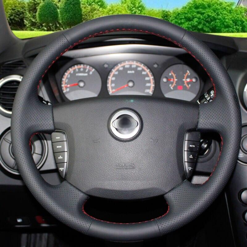 BANNIS Negro de cuero artificial DIY cosido a mano cubierta del - Accesorios de interior de coche - foto 2