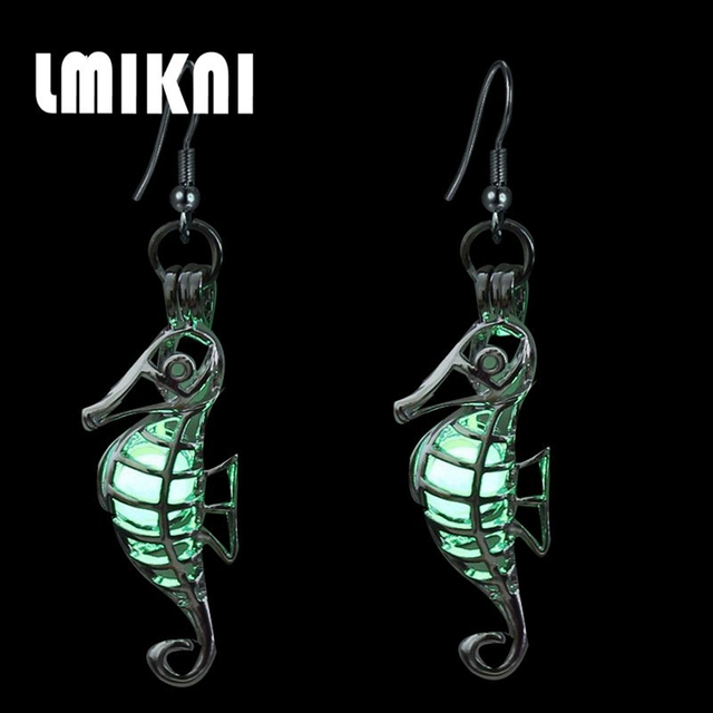 Trendy Sea Animal Luminous Jewelry Silver Color Glow In The Dark Seahorse Earrings For Women Party