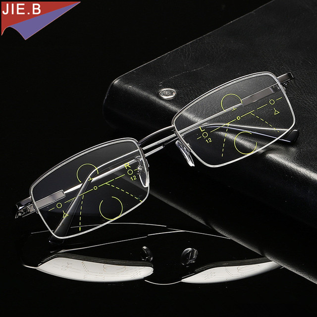 3c345a60c94 2018 High Quality Progressive Reading Glasses Men Women Bifocal Lens Reader  Multi-focal Addition Eyeglasses Half Frame Presbyopi