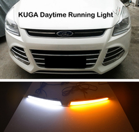 2xWith Yellow Turning Function Chromed ABS Cover 12V Car DRL LED Daytime Running Light For Ford Kuga Escape 2013 2014 2015 2016