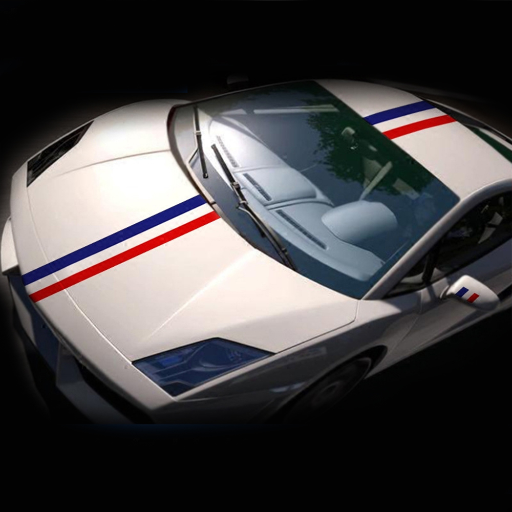 Germany Italy French Flag Striped M-Colored Car Hood PVC Sticker Body Decal 3M 4M 5M For BMW M3 M5 M6 E46 E92 Series Car Styling