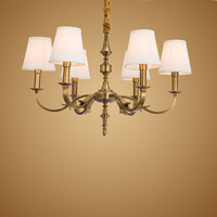 Modern Real Bronze Copper Chandelier for Bedroom Kitchen Living Room Fabric Lampshade Ceiling Home Lighting BLC010
