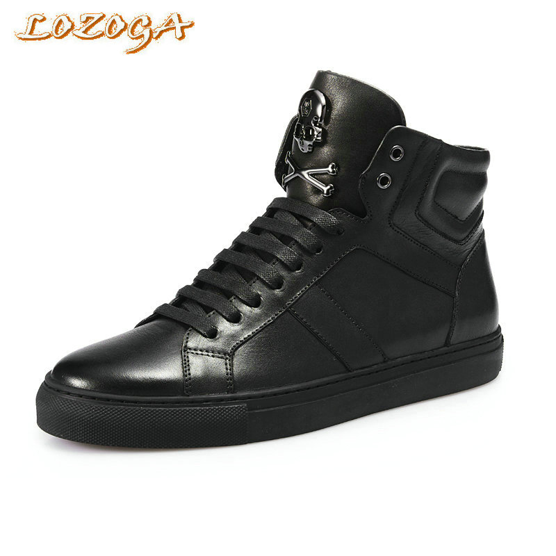 Lozoga 2017 New Men Boots 100% Genuine Leather Basic Boots High Quality European Style Luxury Brand Skull Lace-Up Casual Shoes lozoga new men shoes fashion boots ankle 100