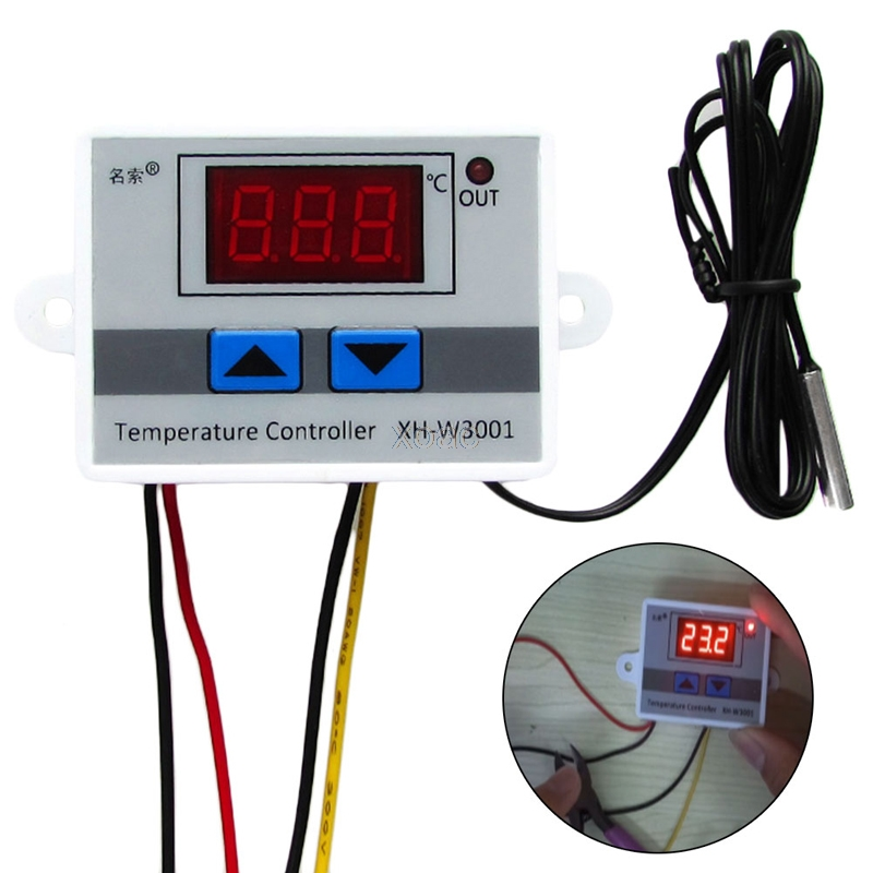Digital LED Thermometer Temperature Controller AC220V 10A Thermostat Incubator Control Microcomputer Probe Weather Station M12 digital thermostat control w1411 220v switch temperature thermometer controller start stop value with waterproof probe 39