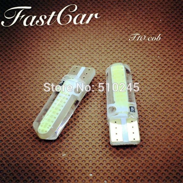 100X High quality Car LED Light T10 2 leds COB W5W 147 168 Wedge Door Instrument Side Bulb Lamp DC 12V Free shipping