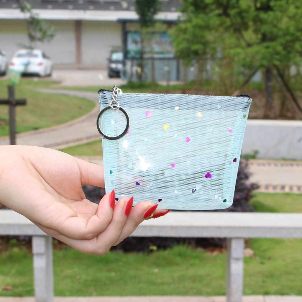Aelicy Nette Kleine Geldbörse Für Mädchen Karte Schlüssel Mini Geldbörse Pouch Mesh Transparent Tasche Zipper Geldbörse Karte Halter Brieftasche keychain