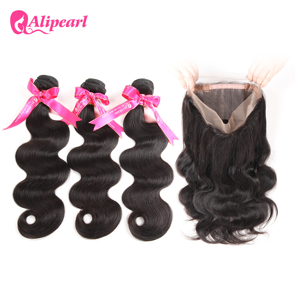 Human Hair Weaves Alipearl Hair Pre Plucked 360 Lace Frontal Closure With Bundles Human Hair 3 Bundles Peruvian Body Wave Remy Hair Extensions Hair Extensions & Wigs