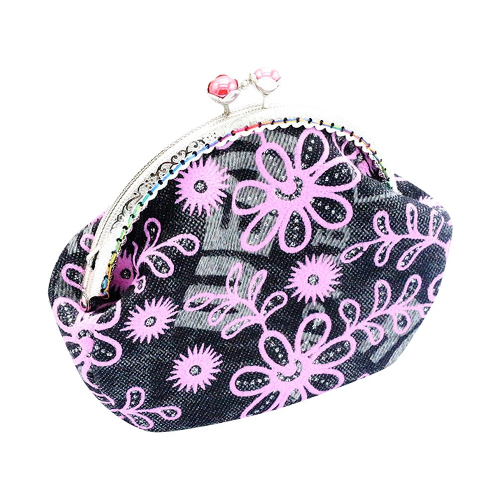 2018 New Women Lady Retro Vintage Flower Small Wallet Hasp Purse Floral Clutch Bag Money Short Design Purse Good For Gift bolsa