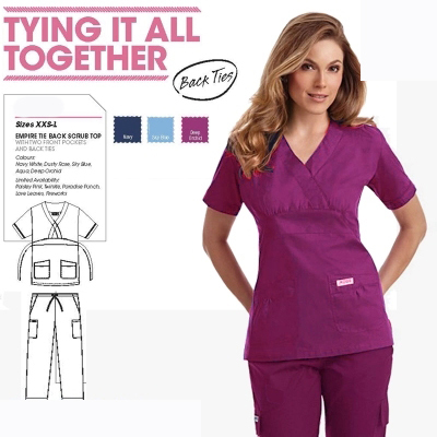 Professional Medical Wear Women Scrub Tops and Pants Sets Dental Clinic Workwear Clothes Beauty Salon Overalls with Back Ties