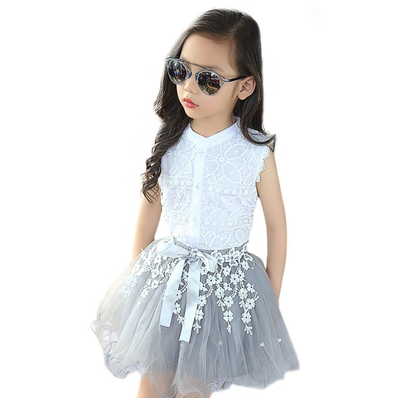3 4 5 6 7 8 9 10 11 Years Girls Clothes Children Tutu Skirt Sets Girls Boutique Outfits Two Piece Children Clothing Set Summer(China)