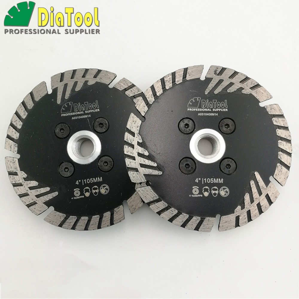 DIATOOL 2pcs 4 Diamond Saw Blades Cutting Disc With Slant Protection Teeth Cutting Grinding For Stone &Concrete With M14 FLANGE 12 72 teeth 300mm carbide tipped saw blade with silencer holes for cutting melamine faced chipboard free shipping g teeth